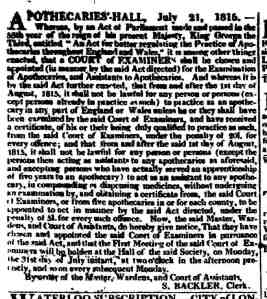 sotherton backler TIMES 1815 soc apoth