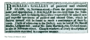 Joseph Backler adverts 23 March 1813